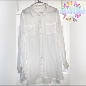 Cato's Silver Button Down Top